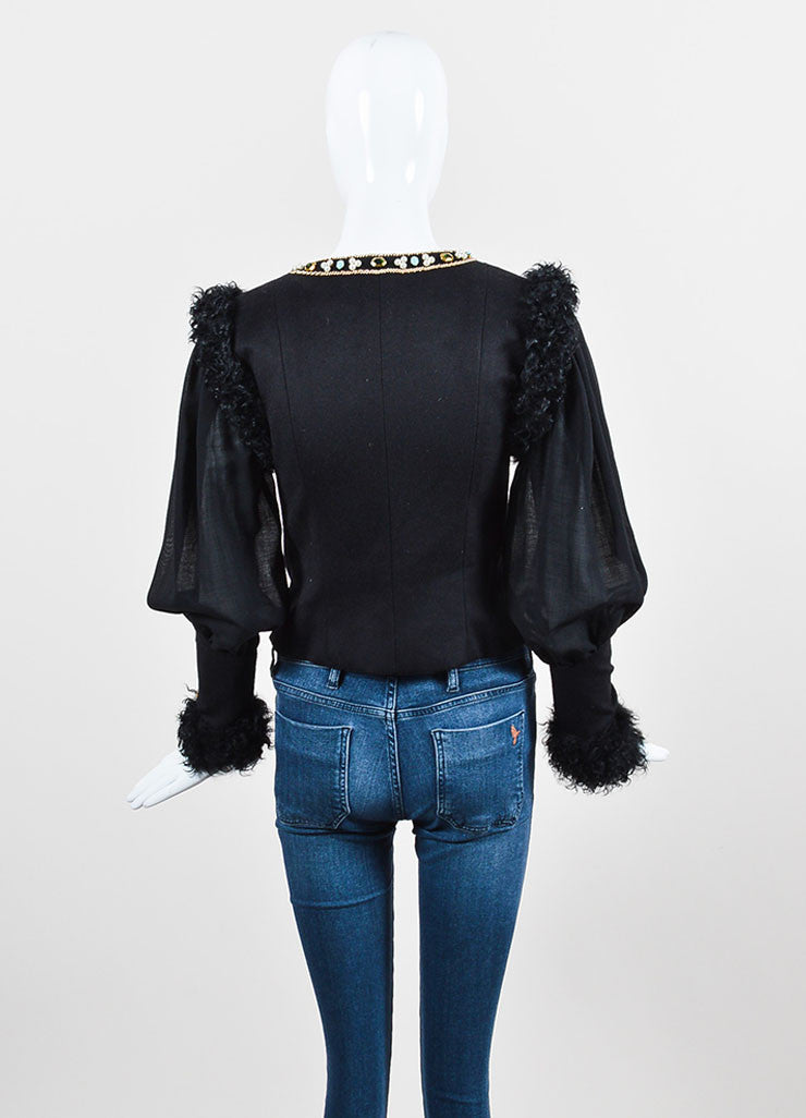 Black and Multicolor Chanel Cashmere and Lamb Fur Trim Bead Embellished Jacket Backview