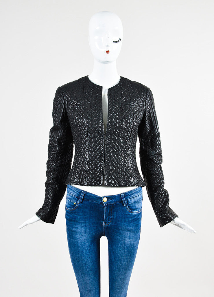 Black Chanel Textured Leather Collarless Cropped Jacket Frontview 2