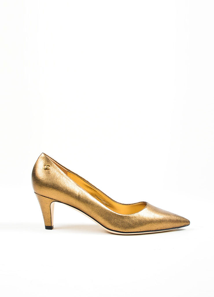 Bronze Chanel Leather Metallic Foil 'CC' Pointed Pumps Side