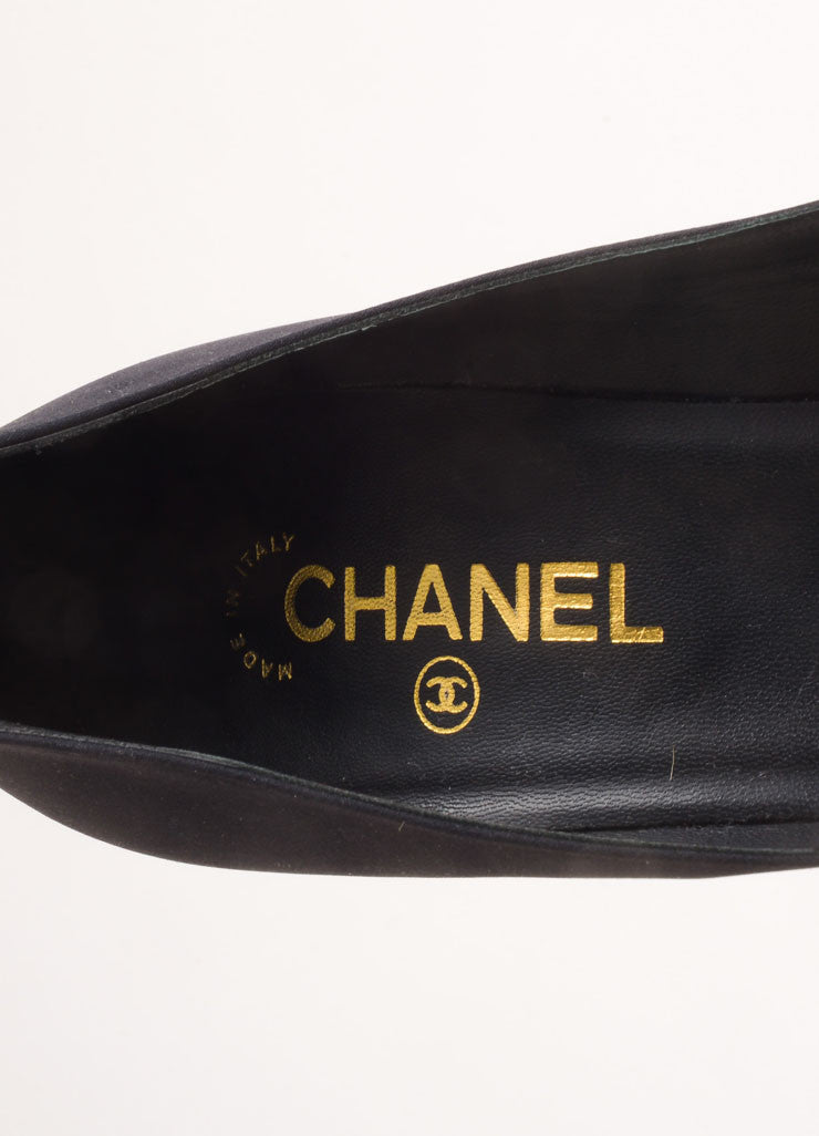 Chanel Black and Gold Toned Woven Metallic Glitter Cap Toe Platform Pumps Brand