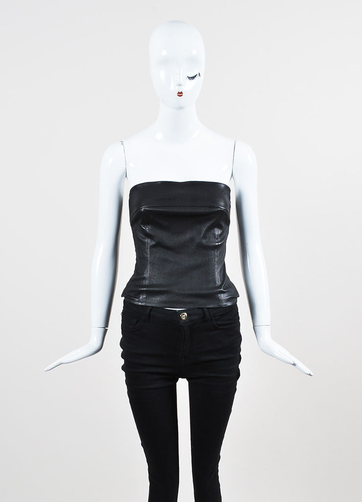 Chanel Black Leather Straight Neck Strapless Corset Top Frontview