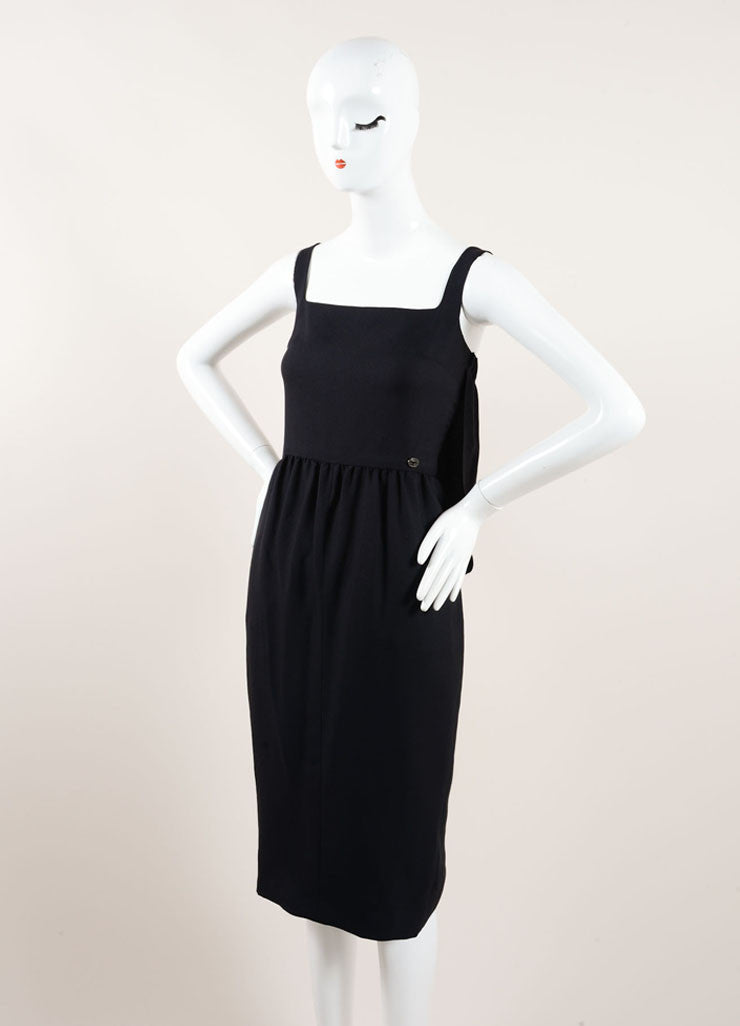Chanel Black Silk Crepe Cape Back Sleeveless Dress Sideview