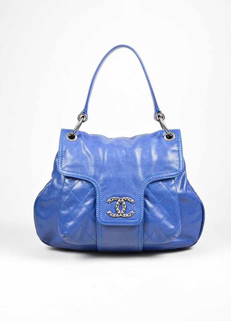 Cobalt Blue and Silver Toned Chanel Glazed Caviar Leather 'CC' Flap Hobo Bag Frontview