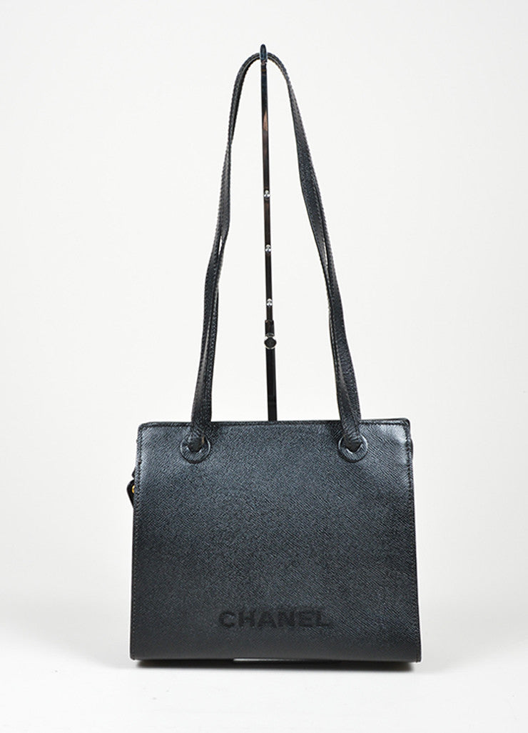 "Chanel ""Marron Fonce"" Black Caviar Leather Shoulder Bag Frontview"