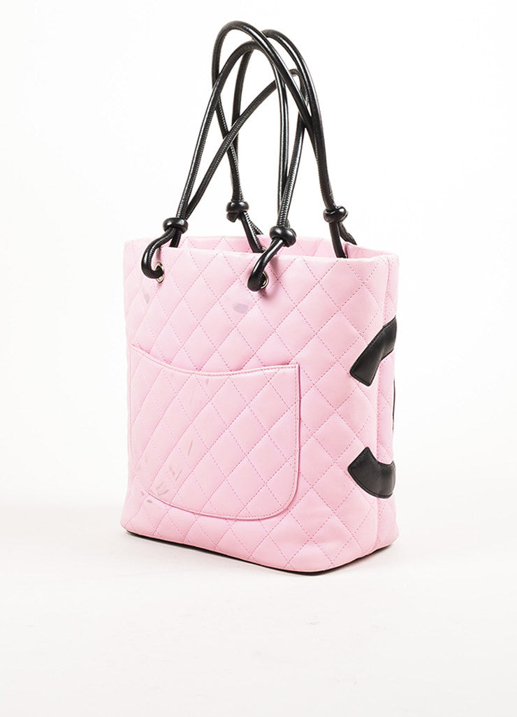 "Chanel Pink and Black Quilted Leather 'CC' Logo ""Ligne Cambon"" Tote Bag Sideview"