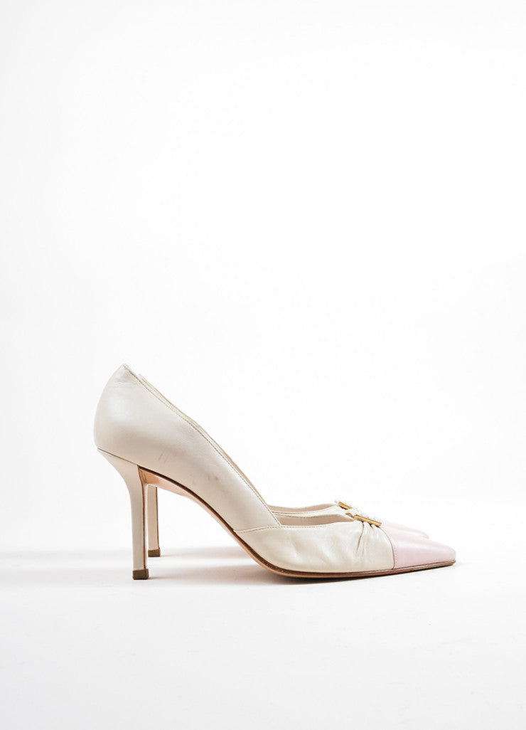 Chanel Pink and Cream Leather Faux Pearl Buckled Ruched Pointed Toe Pumps Sideview