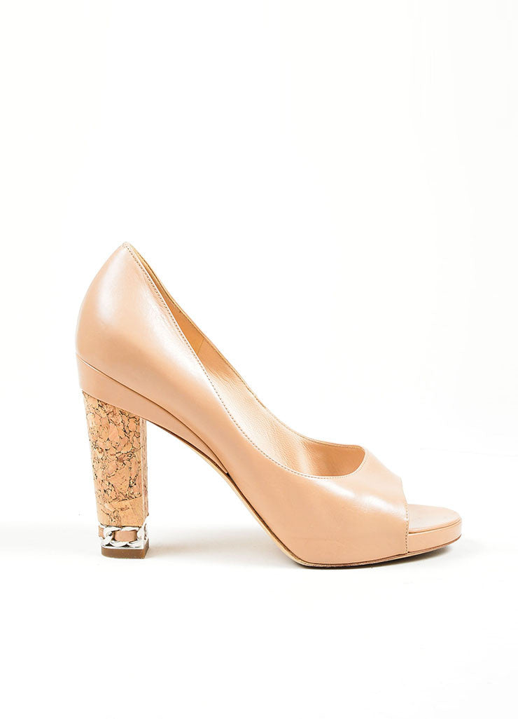 Tan Chanel Leather Chain Trim 'CC' Cork Heel Pumps Sideview
