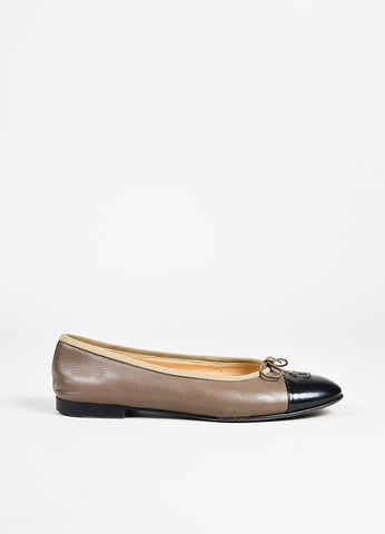 Chanel Taupe Brown and Black Leather Patent 'CC' Cap Toe Ballerina Flats Sideview