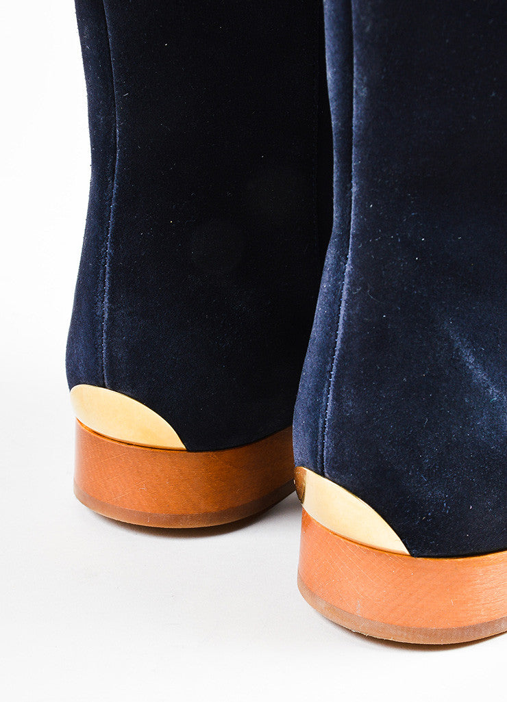 "Navy Blue, Tan, and Gold Toned Chloe Suede Leather ""Celtic Night"" Boots Detail"