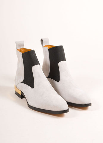 "Chloe New In Box Grey Suede and Gold Toned Heel ""Chelsea"" Ankle Boots Frontview"