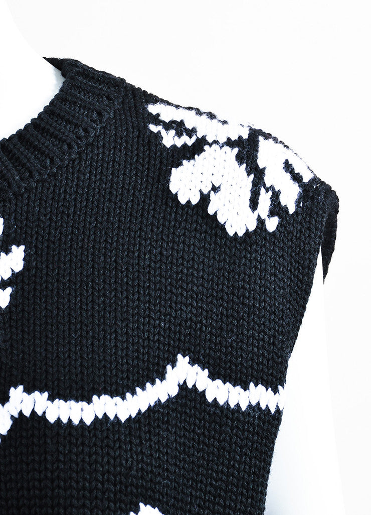 Black and White Christian Dior Floral Cropped Sleeveless Sweater Detail
