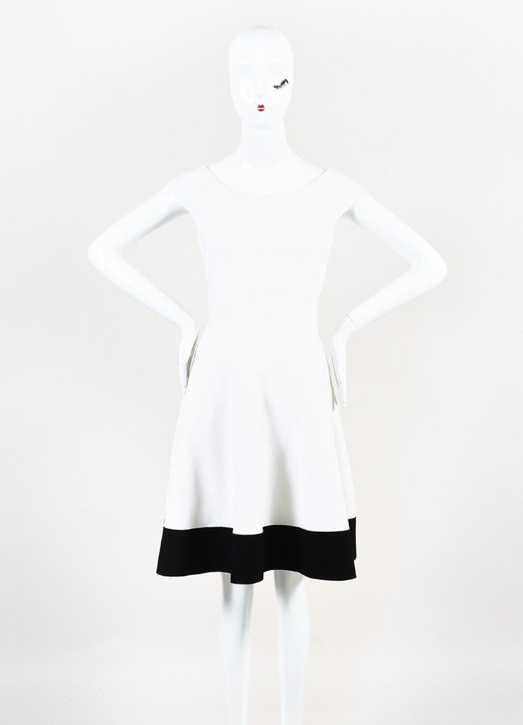 Cream and Black Christian Dior Wool Knit Off Shoulder Fit Flare Dress frontview
