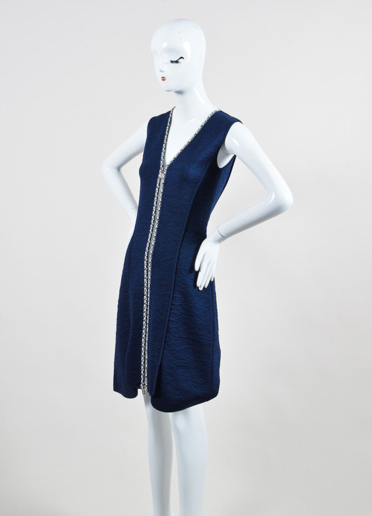Navy, Black, and White Christian Dior Double Zip Mattelasse Sleeveless Dress Sideview