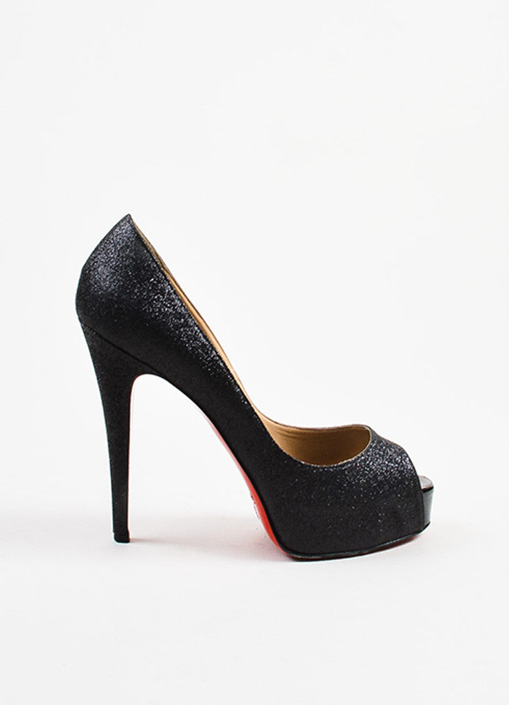 "Christian Louboutin Black Glitter ""Hyper Prive 120"" Platform Pumps Sideview"