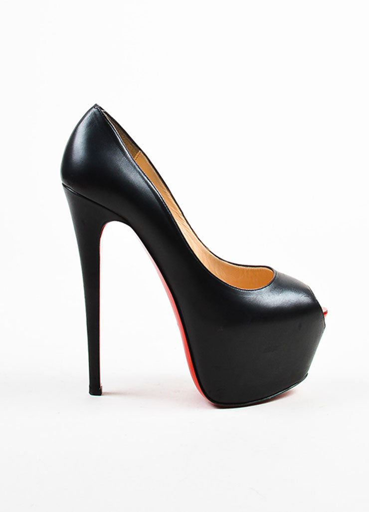 "Black Christian Louboutin Leather Peep Toe ""Highness"" Platform Pumps Side"