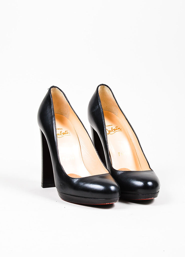 Black Christian Louboutin Leather Almond Toe Stacked Block Heel Pumps Frontview