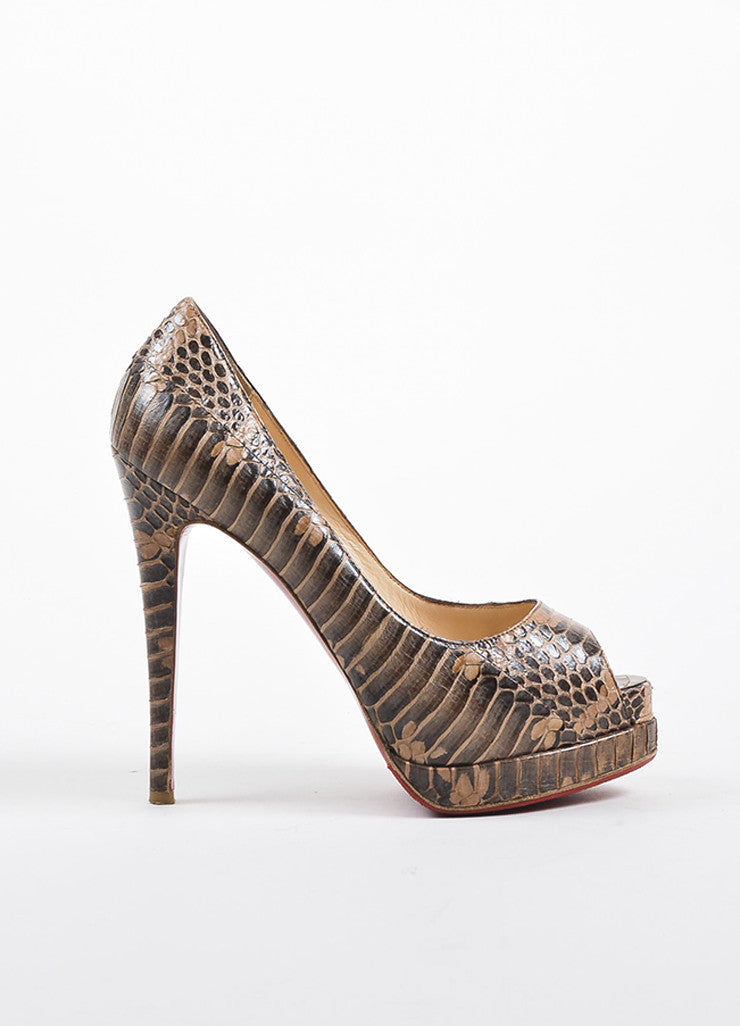 Christian Louboutin Brown and Tan Python Peep Toe Platform Pumps Sideview