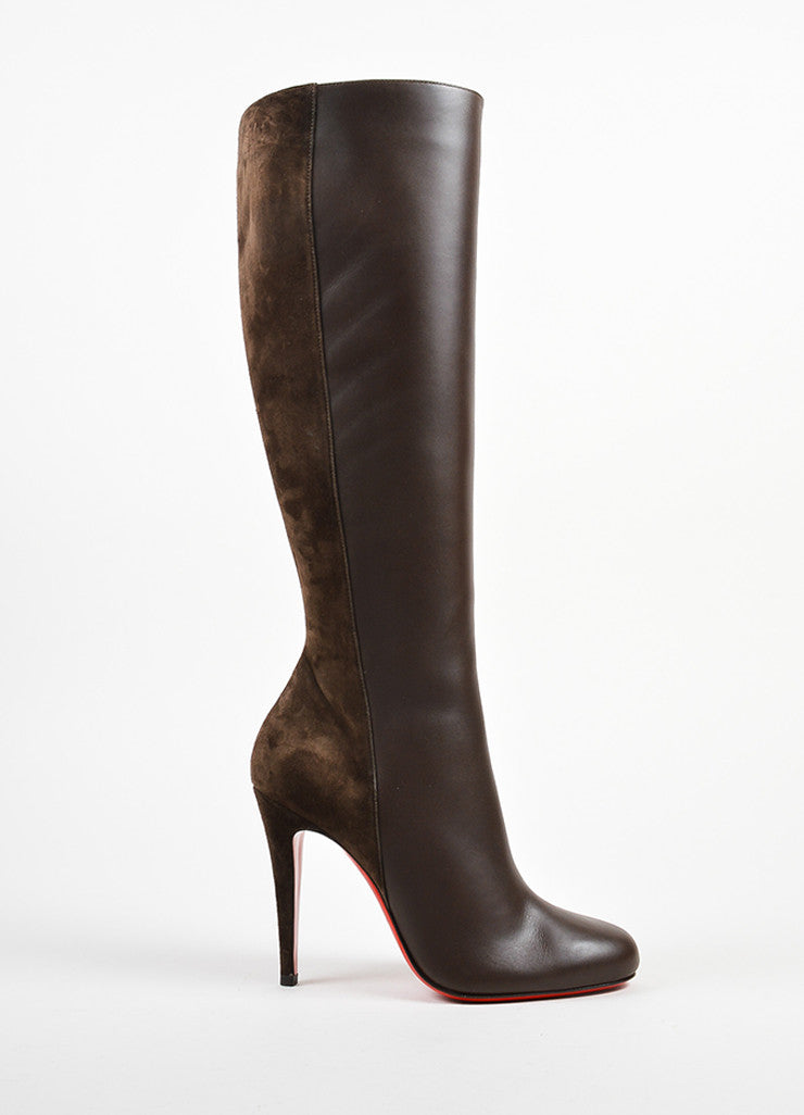 "äó¢íšíóChristian Louboutin Brown Leather and Suede ""Acheval 100"" Heel Boots Sideview"