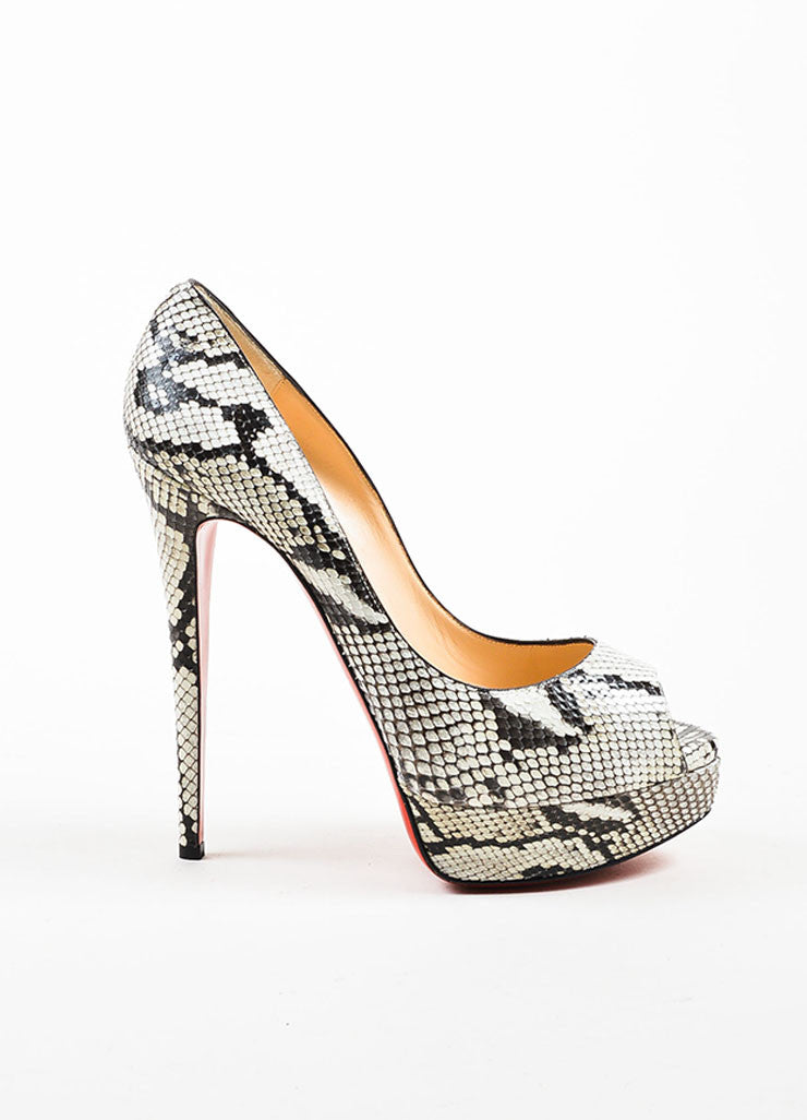 "Black White Christian Louboutin ""Lady Peep 150"" Pumps Side"