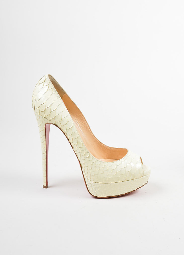"Christian Louboutin Cream Python Leather ""Lady Peep 150 Crystal"" Pumps Sideview"