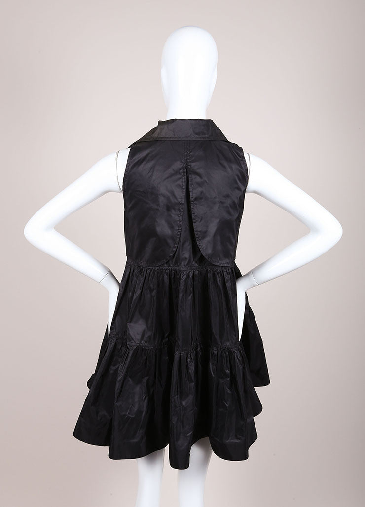 DSquared2 Black Silk Taffeta Trench Sleeveless Dress Backview