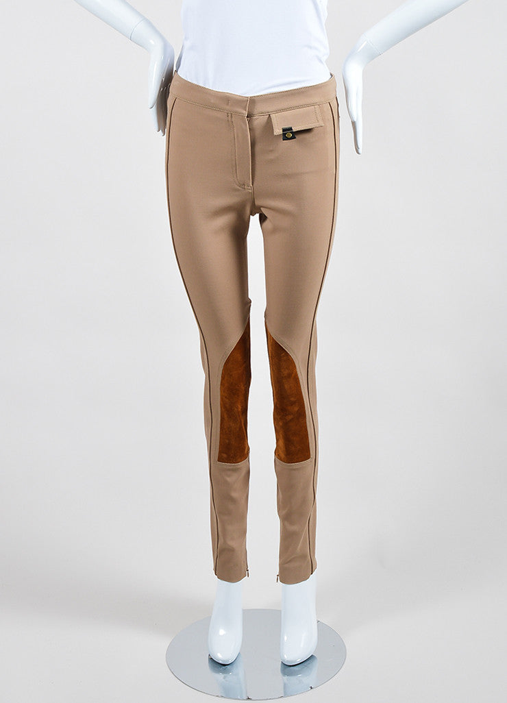 "Tan Derek Lam Camel Wool Suede Panel ""Jodphur"" Riding Pants Frontview"
