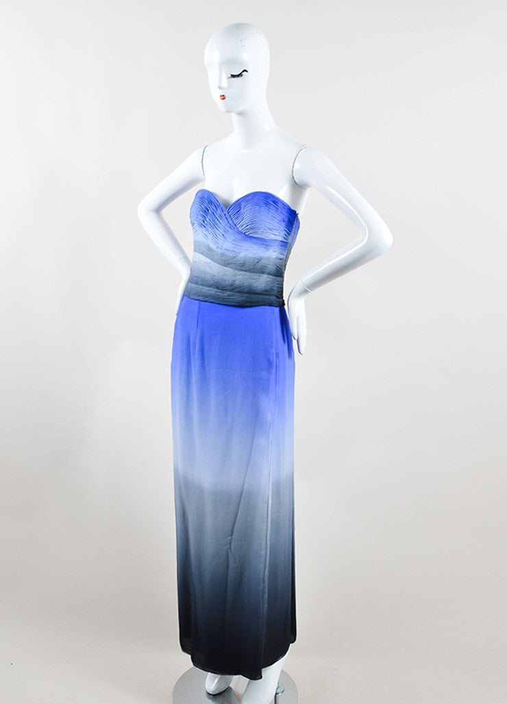 Emanuel Ungaro Blue and Grey Silk Two-Piece Sleeveless Evening Gown Sideview