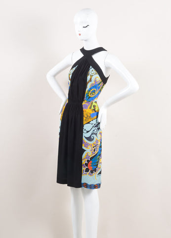 Etro New With Tags Black and Multicolor Ruched Paisley Print Sleeveless Dress Sideview