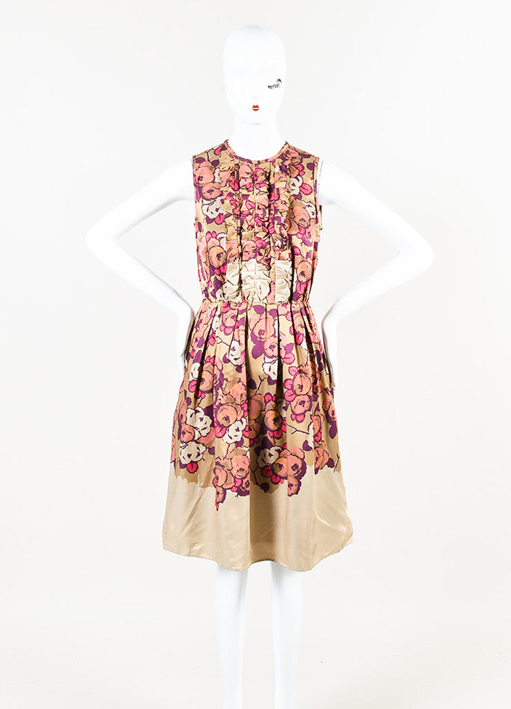 Taupe Pink Purple Etro Floral Print Ruffle Sleeveless Dress Front