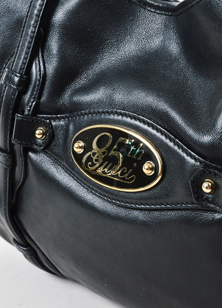 "Black Leather Gucci ""85th Anniversary Bridle Bit Hobo"" Flat Shoulder Bag Detail 2"