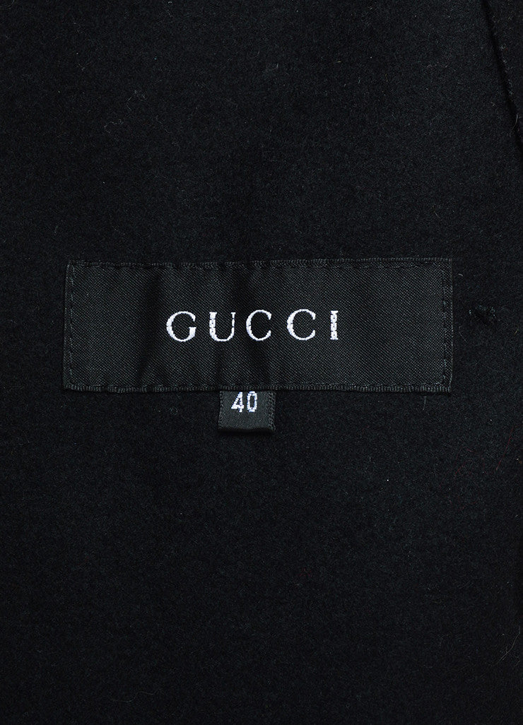 Gucci Black Wool Double Breasted Button Up Belted Trench Coat Brand