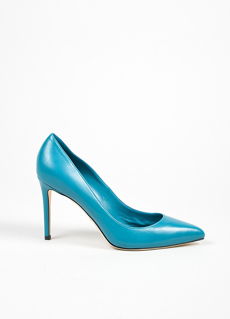"Gucci Deep Cobalt Leather Pointed Toe ""Brooke 95mm"" Pumps Sideview"