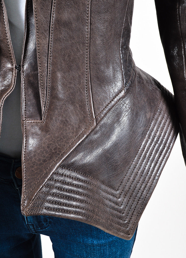 Haider Ackermann Brown Distressed Leather Exaggerated Peplum Jacket Detail