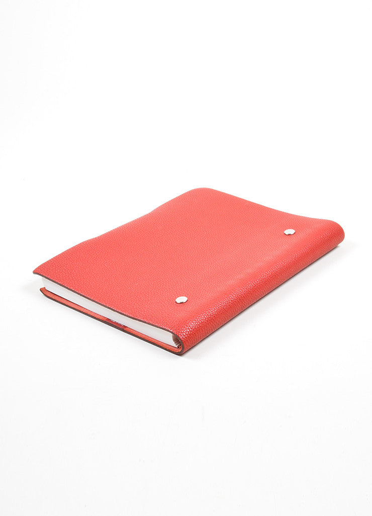 "Red Togo Leather Hermes ""Ulysse MM"" Snap Agenda with Paper Sideview"