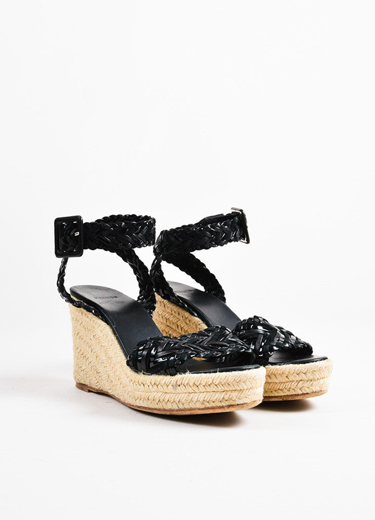 Hermes Black Contrast Woven Suede Patent Leather Espadrille Wedge Sandals Frontview
