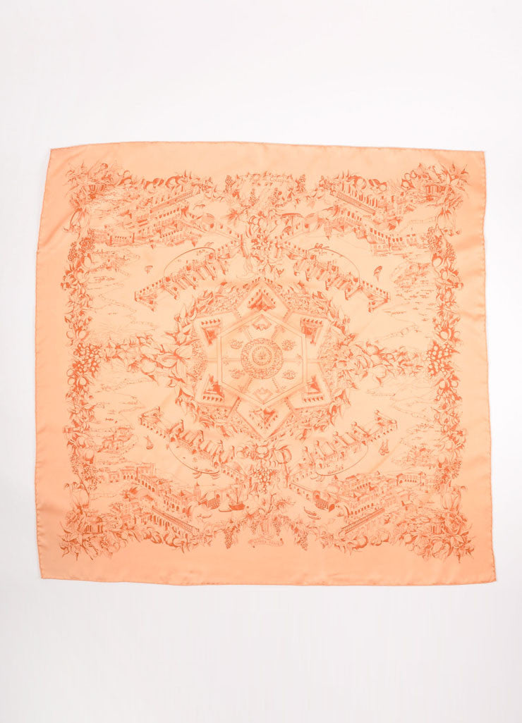 "Hermes Light Orange and Red Silk Twill Graphic Print ""Au Pays de Cocagne""  Scarf Frontview"