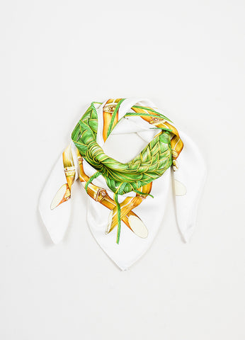 "White and Green Hermes Silk Vegetation Garden ""Jardin Creole"" Scarf Frontview"