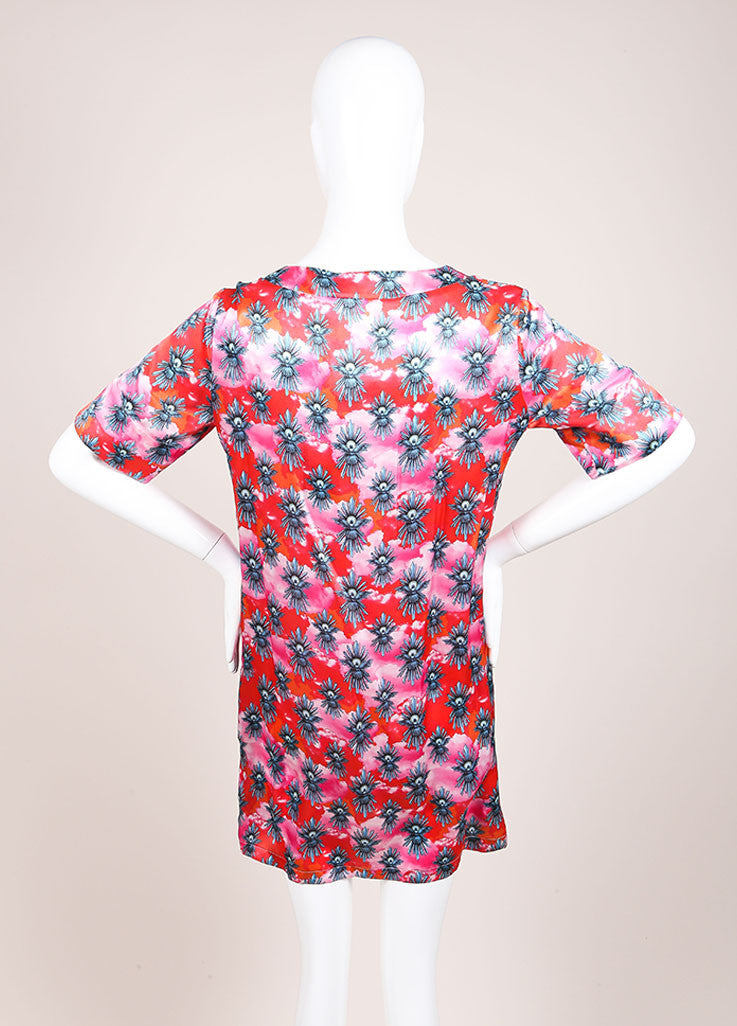 House of Holland New With Tags Red and Pink Dove Print Short Sleeve Dress Backview