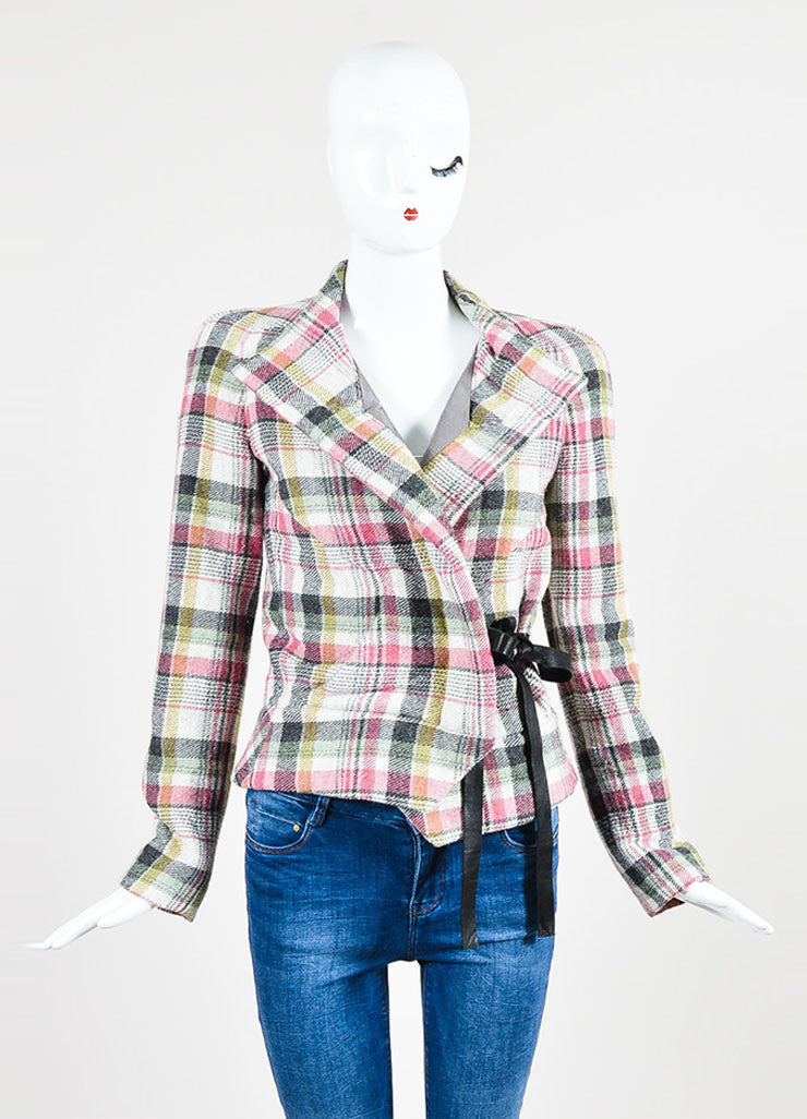 "Multicolor Isabel Marant Wool Blend Plaid ""Madoc"" Belted Jacket Frontview 2"