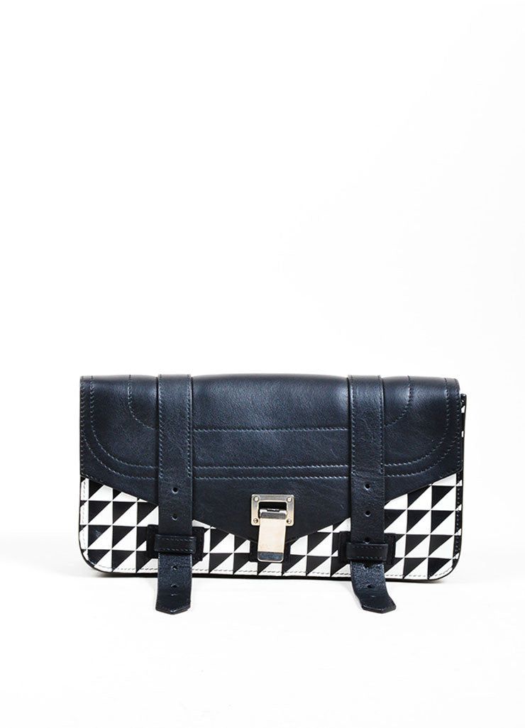 "Black and White Proenza Schouler Printed Leather ""PS1 Pochette"" Clutch Bag Frontview"