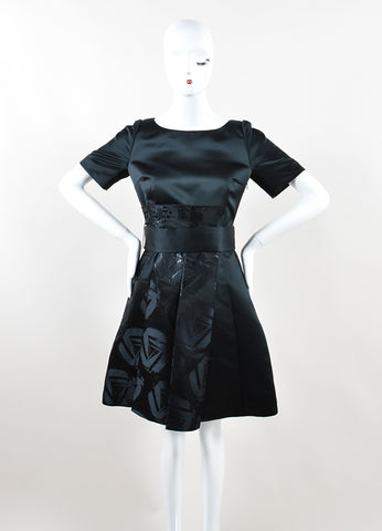 Jil Sander Navy Black Satin Embellished Skirt A-Line Short Sleeve Dress Frontview