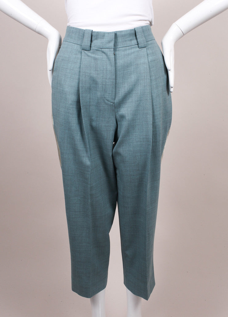 "Jonathan Saunders New With Tags Blue and Cream ""Nadine"" Ankle Tux Trousers Frontview"