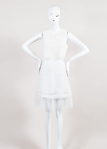 White Jonathan Simkhai Embroidered Lace Layered Cape Back Dress Frontview