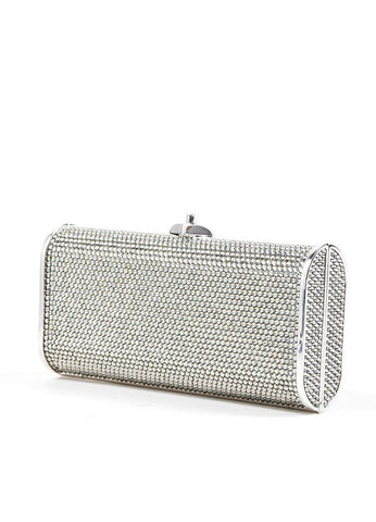 Silver Judith Leiber Rhinestone Embellished Minaudiere Clutch Bag Sideview