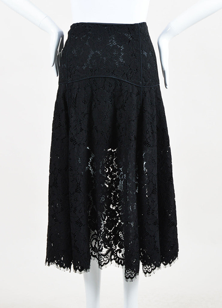 Veronica Beard Black Lace Cotton Scalloped Edge Flare Skirt Frontview