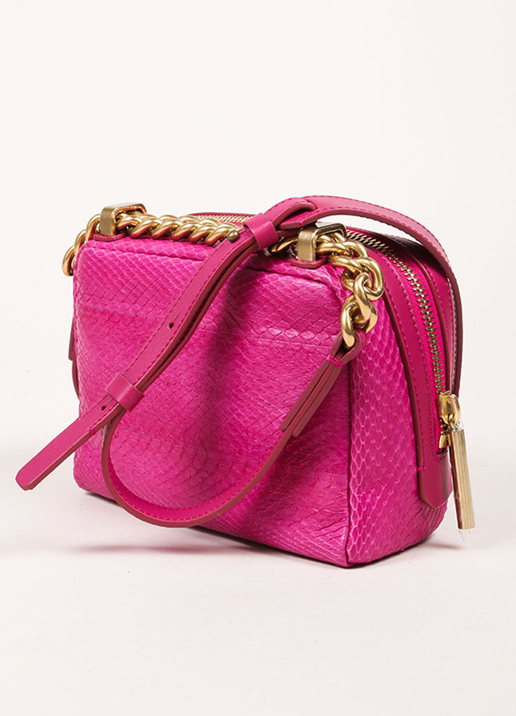 "Lanvin NWT $1890 Fuchsia Snakeskin Leather ""Mini Padam"" Shoulder Bag Sideview"