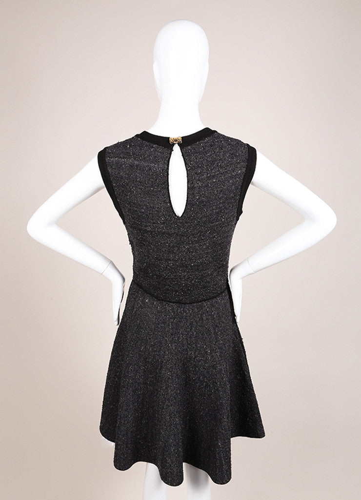 Louis Vuitton Black and Grey Silk Tweed Knit Sleeveless Flare Dress Backview