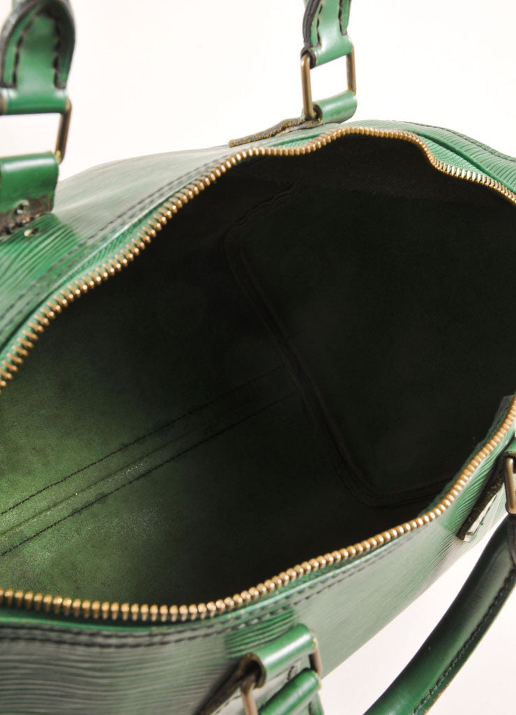"Louis Vuitton Green Epi Leather ""Speedy 35"" Satchel Handbag Interior"