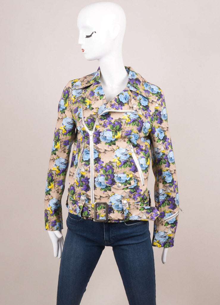 MSGM New With Tags Nude, Purple, and Blue Cotton Floral Printed Biker Jacket Frontview