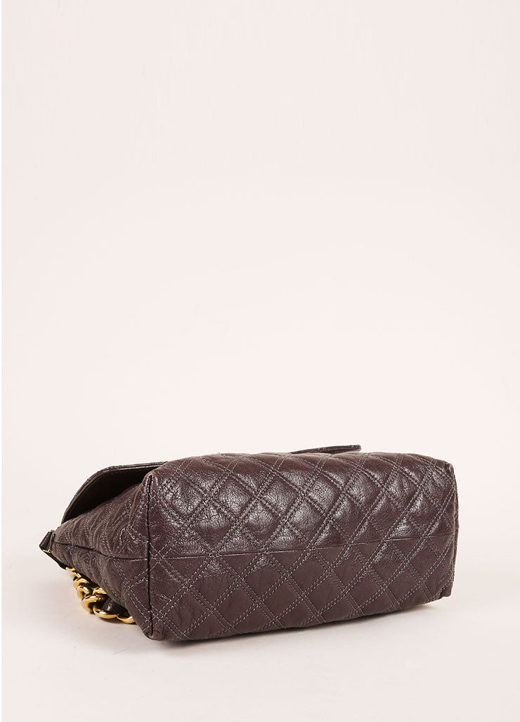 "Marc Jacobs Grey and Gold Toned Quilted Leather Chain Strap ""The XL Single"" Bag Bottom View"